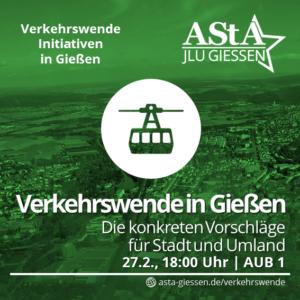 Verkehrswende in Gießen. Die konkreten Vorschläge für Stadt und Umland @ AUB - Alte Universitätsbibliothek