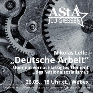 """Online-Vortrag: """"Deutsche Arbeit"""" - Über ein vernachlässigtes Element des Nationalsozialismus"""